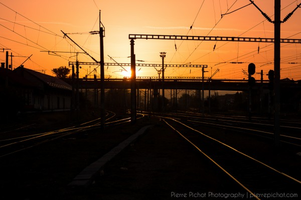 Sunset at the Cluj-Napoca train station.
