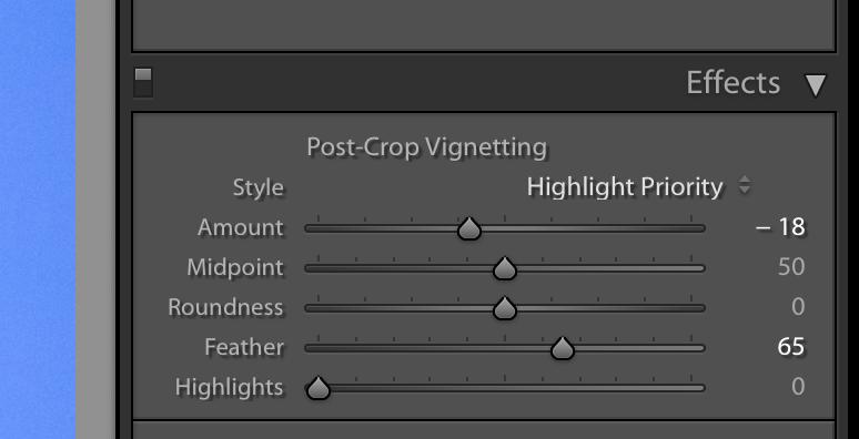 Post-crop vignetting tool Lightroom