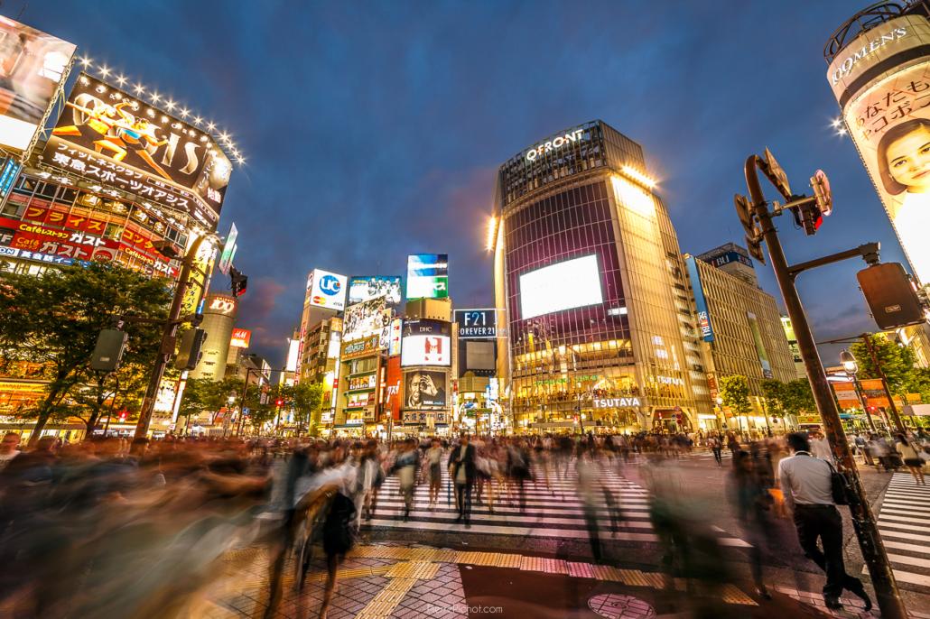 Shibuya crossing, 30 seconds long exposure.