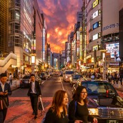 Shibuya crossing during a crazy sunset.