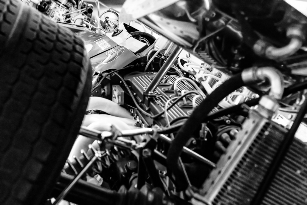 Autoportrait in the rear mirror of a Matra MS11 (1968) with its V12 engine. Matra museum, Romorantin, France.