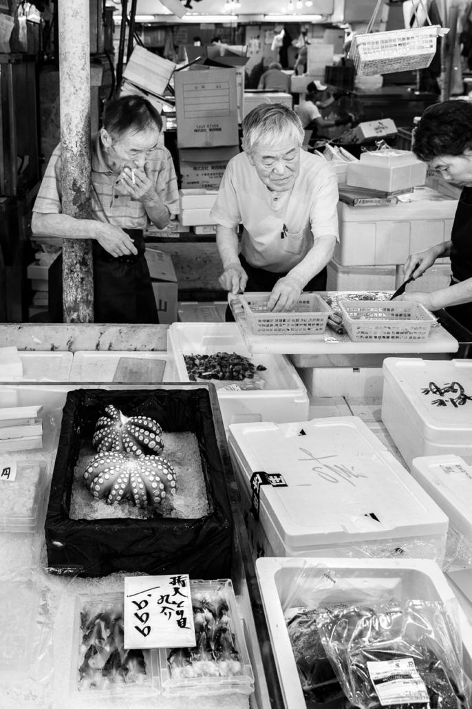 Workers in Tsukiji Market, Tokyo, Japan