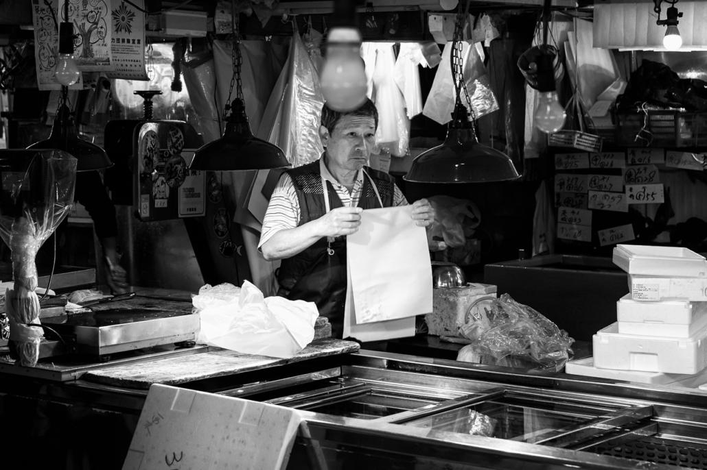 A worker at Tsukiji Market, Tokyo, Japan