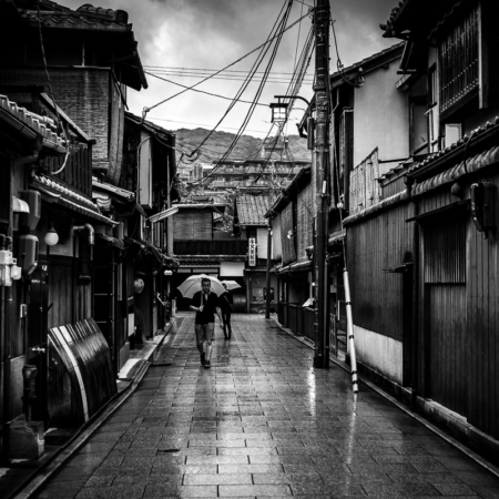 Kyoto, Japan: Gion, the Geisha neighborhood, under the rain, 2015.