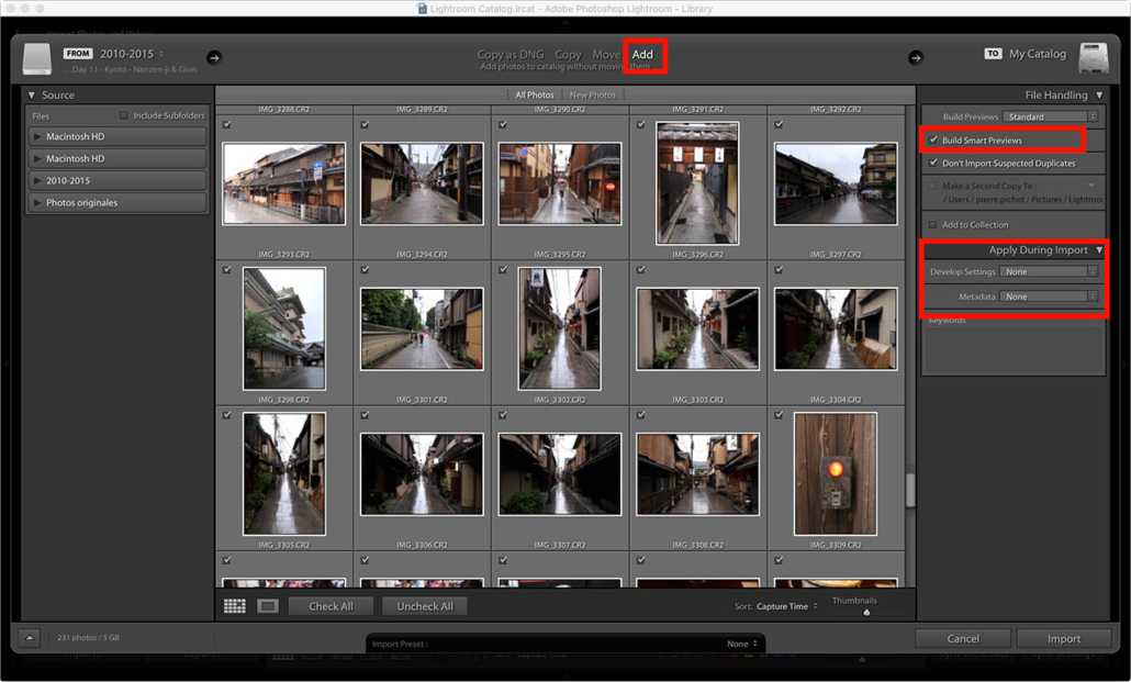 Lightroom Smart Previews - Import photos