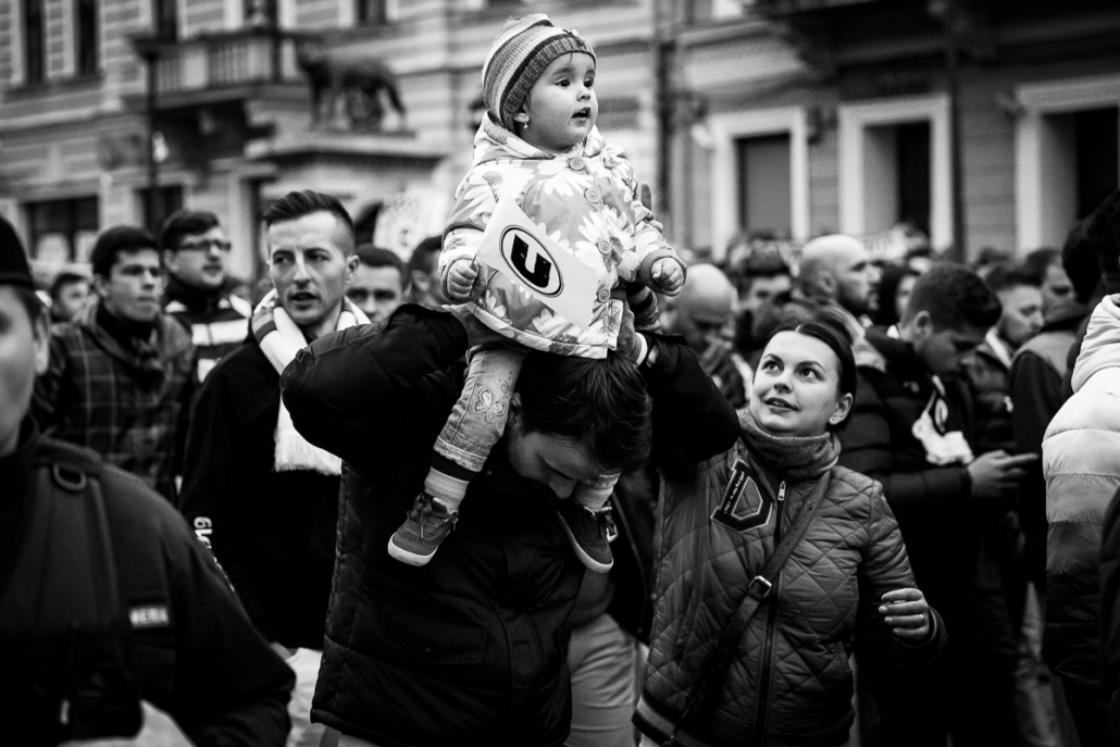 U Cluj protest. Supporters of any ages. Cluj-Napoca, Romania.