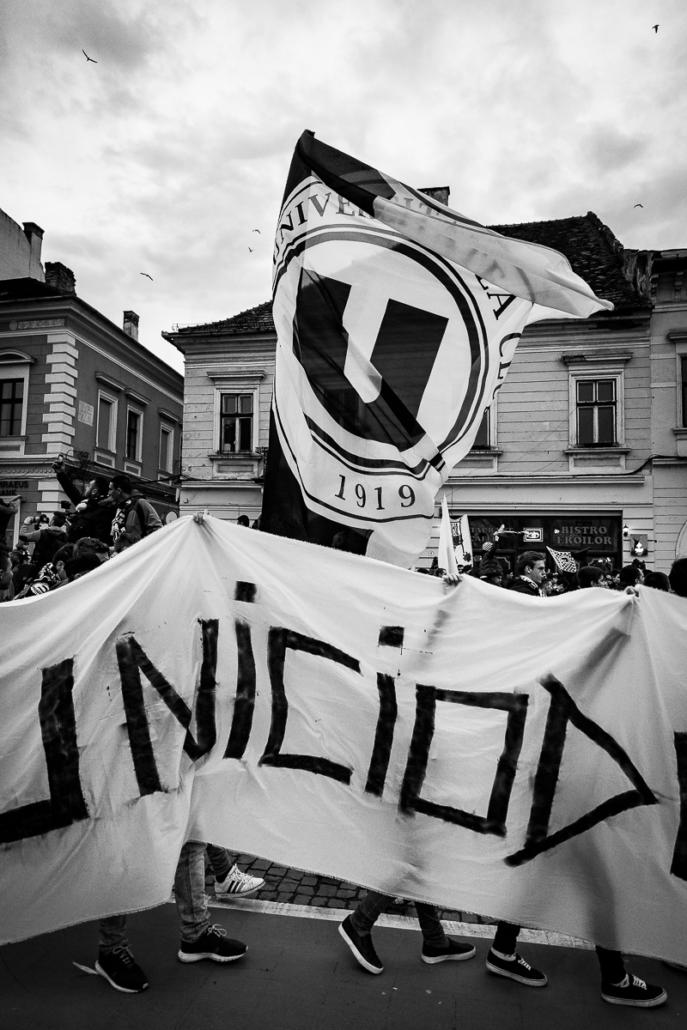 U Cluj protest. Cluj-Napoca, Romania.