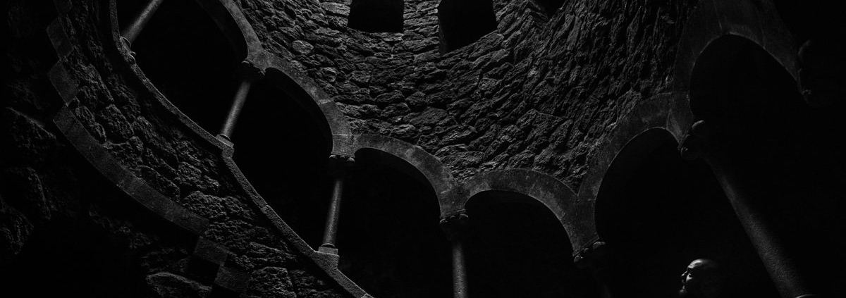 Inside the Initiation Well at Quita da Regaleira (Sintra, Portugal).