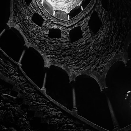 Inside the Initiation Well at Quita da Regaleira (Sintra, Portugal).
